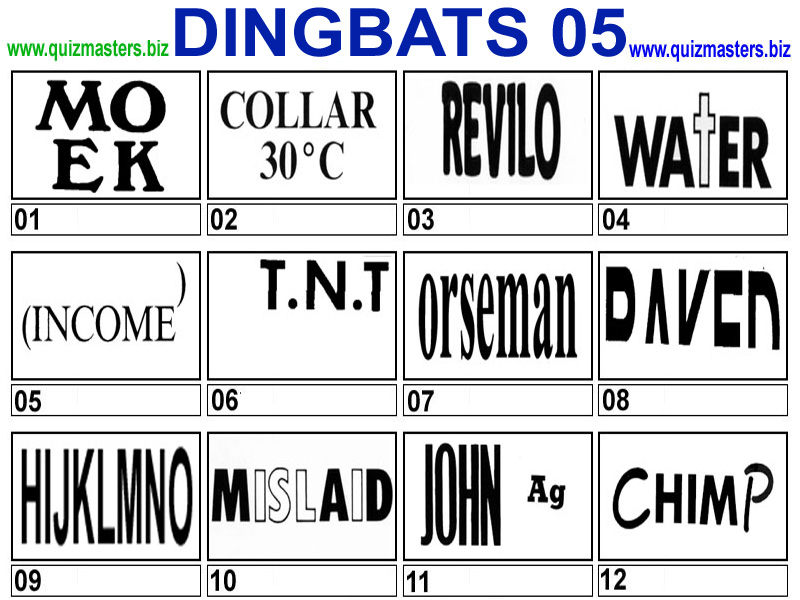 Dingbats / Rebuses (Try & Figure Out the Famous Phrase Or Saying)